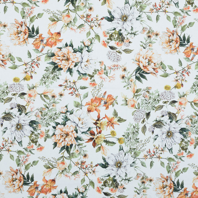 mood exclusive les fleurs de l amour orange and green stretch cotton sateen md0045 11
