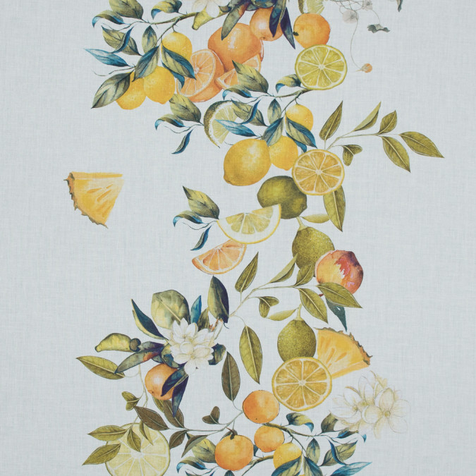 mood exclusive panier de fruits yellow and green printed cotton voile md0015 11