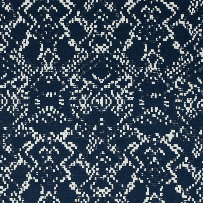 mood indigo and winter white abstract printed stretch cotton sateen 117329 11