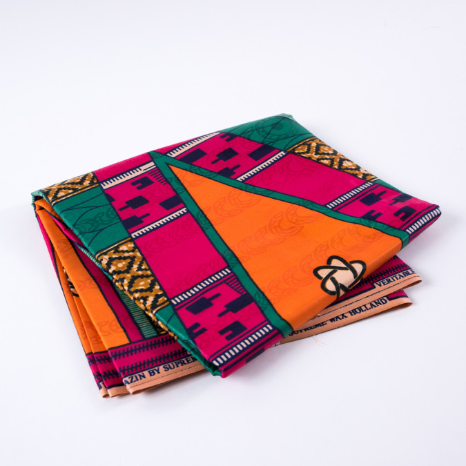 multi color large scale waxed cotton african print with additional inlaid print 313292 11