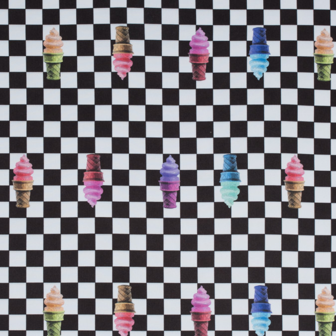 multi colored ice cream on a checkerboard digitally printed stretch neoprene scuba knit 310347 11