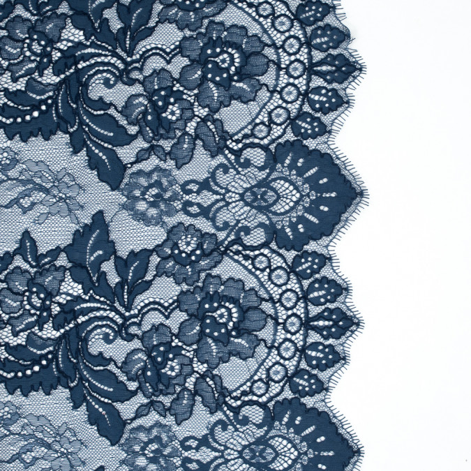 muted blue floral corded lace with finished eyelash edges 317526 11