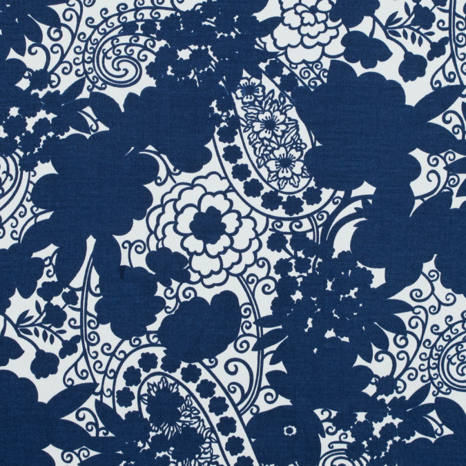 navy and ivory floral and paisley printed stretch cotton sateen 117317 11
