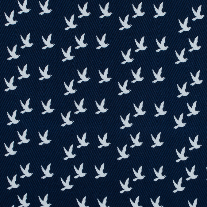 navy and white bird printed cotton dobby jacquard 117322 11