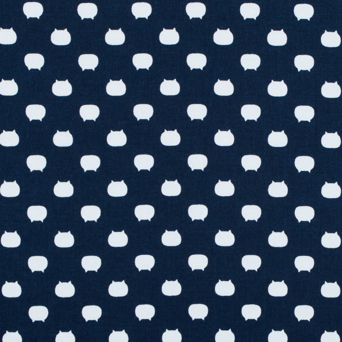 navy and white cat printed stretch cotton sateen 117324 11