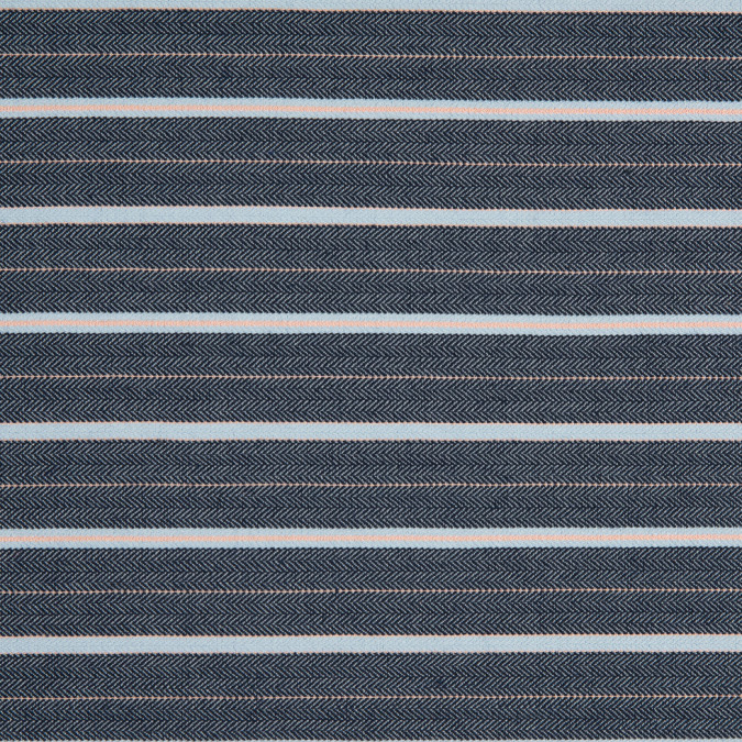 navy blue orange striped stretch dobby jaquard 310577 11