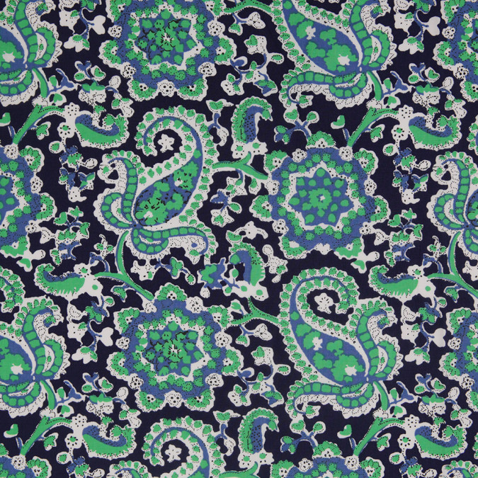 navy bright green paisley printed stretch cotton poplin 307104 11
