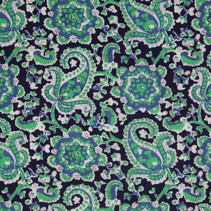 navy bright green paisley printed stretch cotton poplin 307104 11