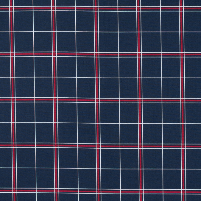 navy checkered stretch cotton twill 114178 11