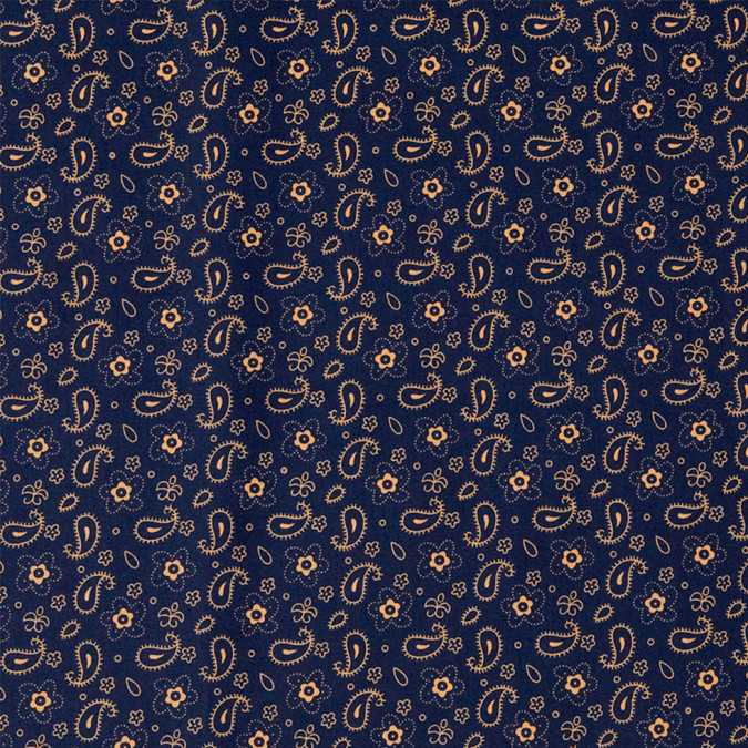 navy gold paisley combed cotton sateen 308432 11