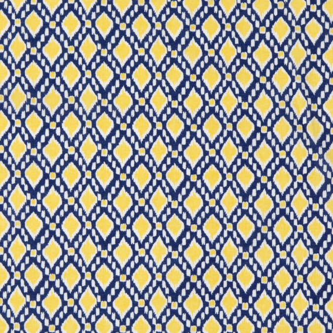 navy maize geometric printed cotton voile 308400 11