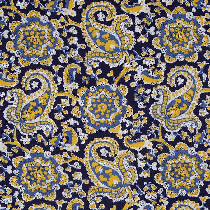 navy saffron paisley printed stretch cotton poplin 307064 11