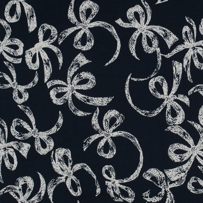 navy white bows printed on a cotton sateen 114174 11