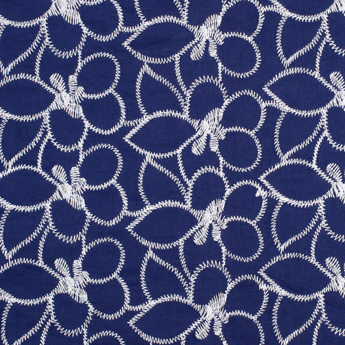 navy white floral embroidered cotton 308675 11