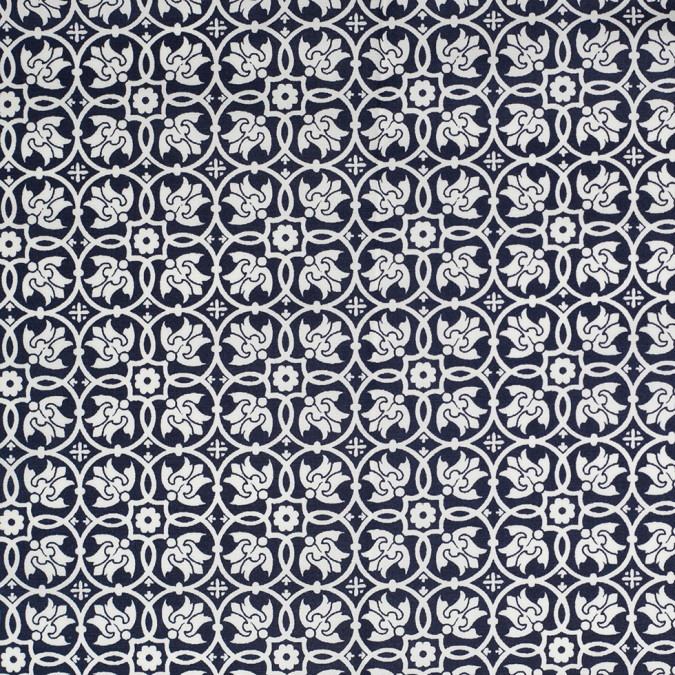 navy white floral stretch cotton poplin 306455 11