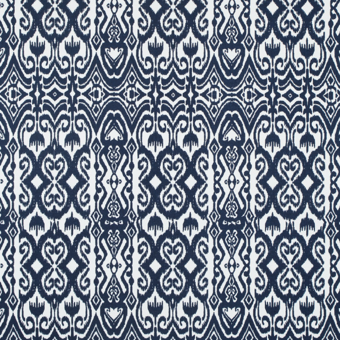 navy white ikat stretch cotton sateen 114379 11