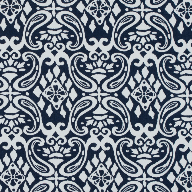 navy white printed stretch cotton sateen 114399 11