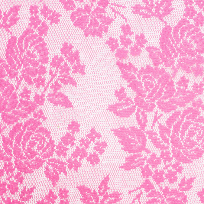 neon fuchsia floral polyester heavy crochet lace 307004 11