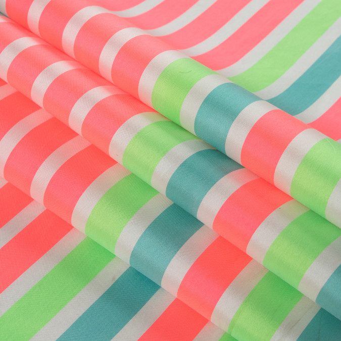 neon pink and sea green striped taffeta 311139 11