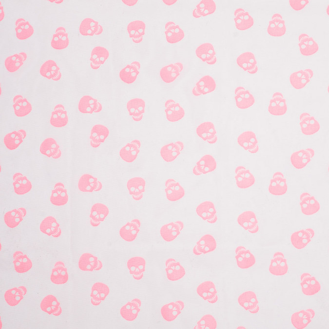 neon pink scattered skulls printed chiffon 307029 11