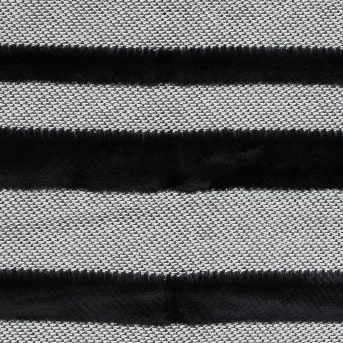 novelty black and white cotton knit with black faux fur awning stripes 318369 11