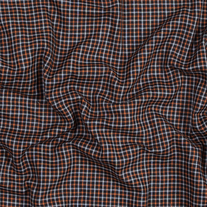 orange gray and black plaid cotton double cloth 318838 11