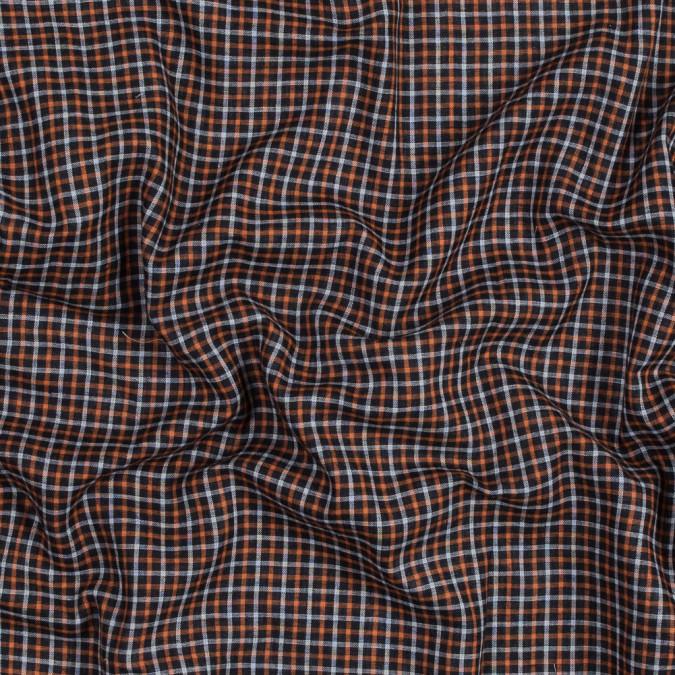orange gray and black plaid cotton double cloth 318838 11