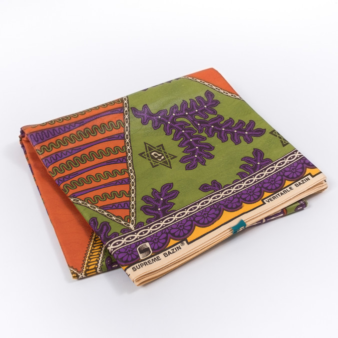 orange purple and green waxed cotton african print with additional inlaid pattern 319554 11