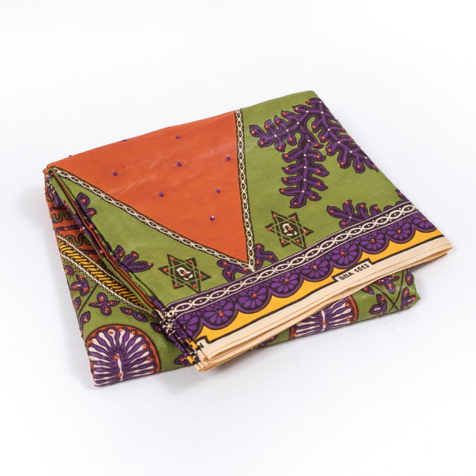 orange purple and green waxed cotton african print with additional inlaid pattern and gems 319558 11