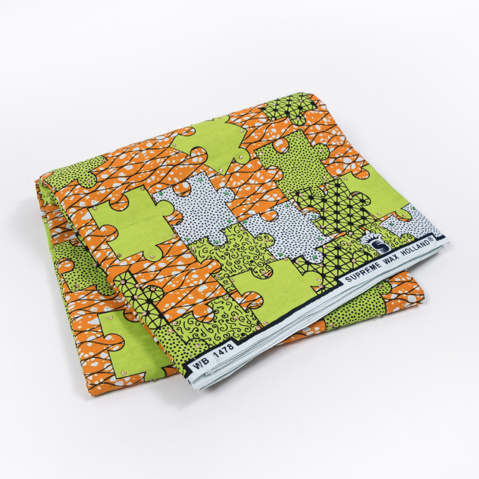 orange and lime green puzzle piece waxed cotton african print with gems 319559 11