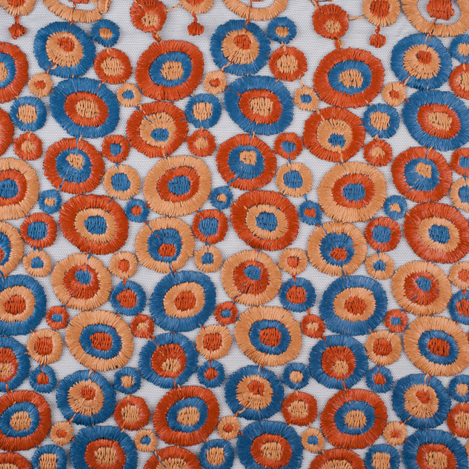 orange blue beige embroidered circles on polyester netting 305975 11