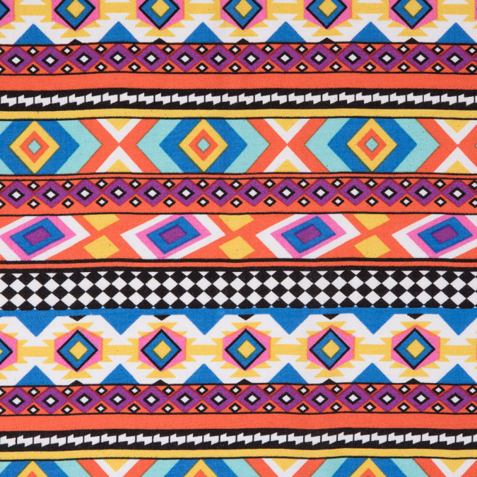 orange blue navajo tribal printed rayon woven 310002 11