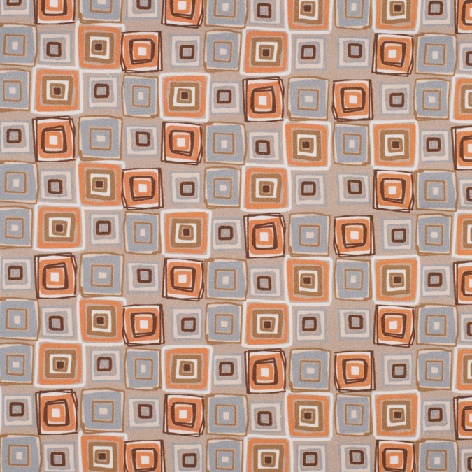 orange geometric squares stretch cotton sateen 308196 11