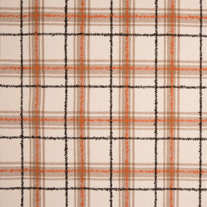 orange ivory plaid wool twill and solid felt double cloth 310561 11