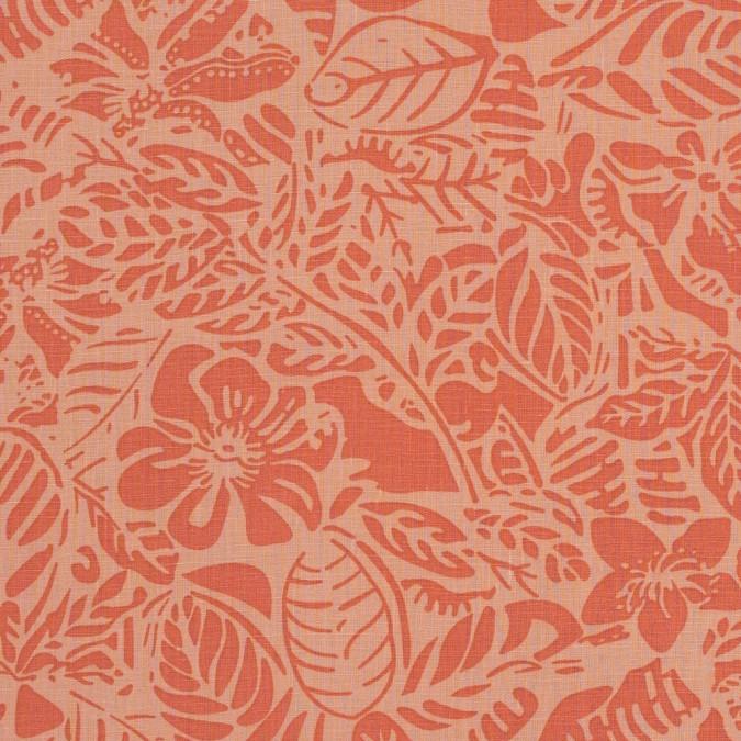 orange leafy linen print 317712 11