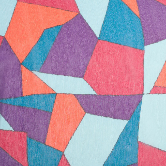 orange purple blue abstract geometric crinkled silk chiffon 307084 11