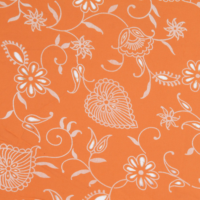 orange white floral flocked cotton fc25333 11
