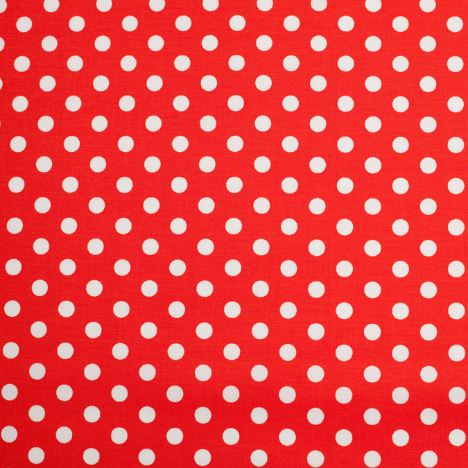 orange white polka dotted stretch cotton twill 306391 11