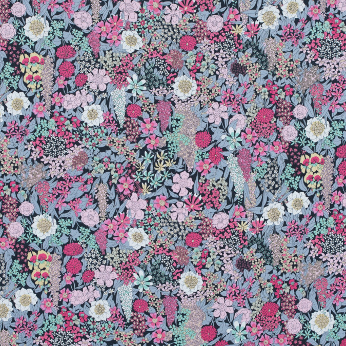 orchid pink and minimal gray floral printed cotton poplin 117299 11