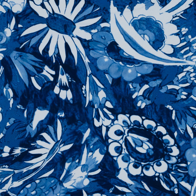 oscar de la renta blue floral printed stretch cotton canvas 318818 11