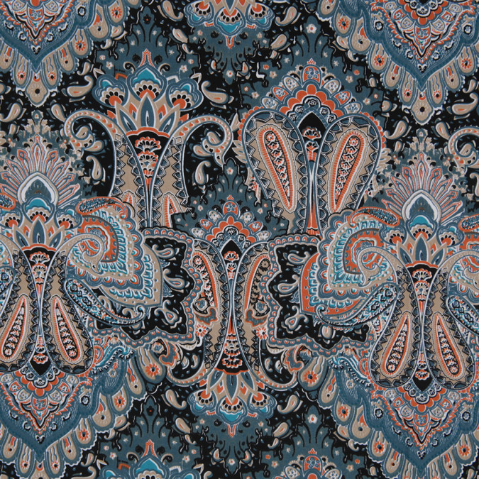 pacific green paisley printed corded cotton sateen 307135 11