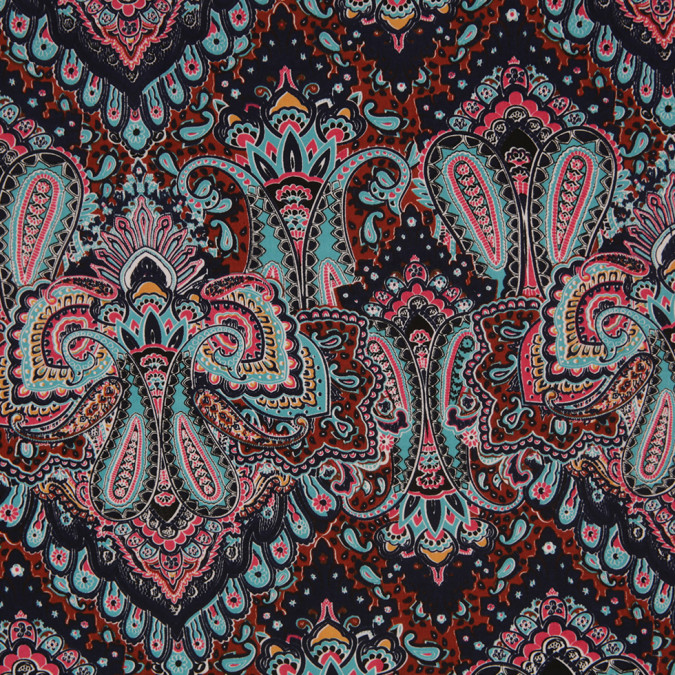 pale aqua clay brown paisley printed corded cotton sateen 307138 11