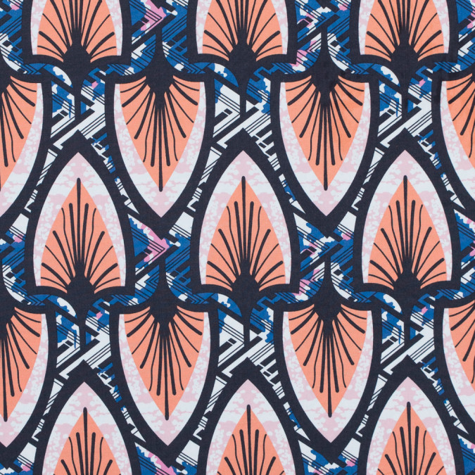 papaya punch and delft blue stretch cotton poplin print 117307 11