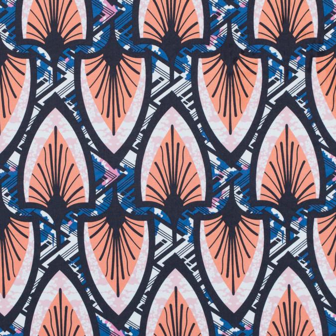 papaya punch and delft blue stretch cotton poplin print 117307 11