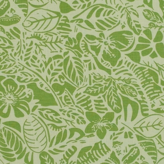 parrot green leafy printed linen woven 317594 11