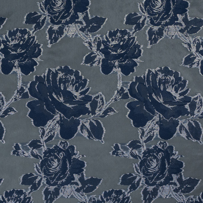 patriot blue and metallic silver floral burnout organza 317792 11