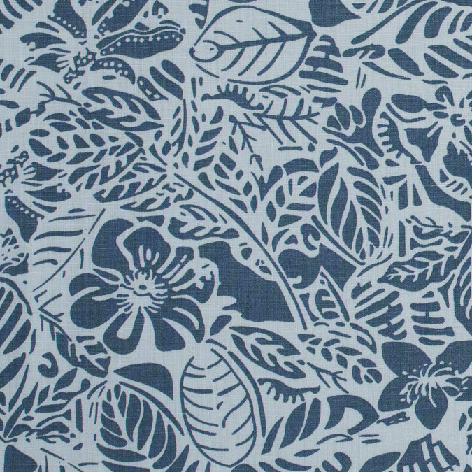 pearl blue leafy linen print 317713 11