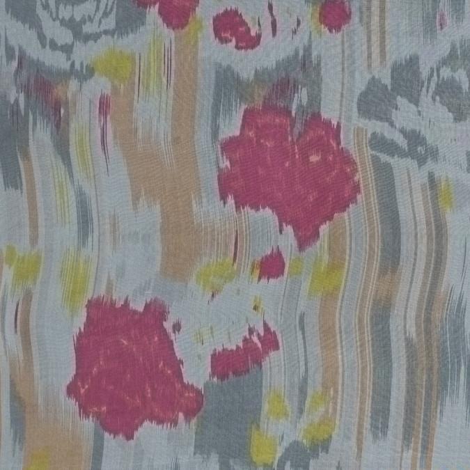 pink gray and yellow abstract printed silk chiffon 315923 11