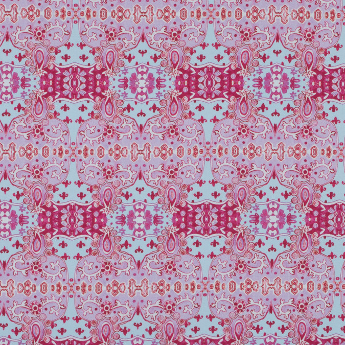 pink and blue printed stretch cotton sateen 315868 11