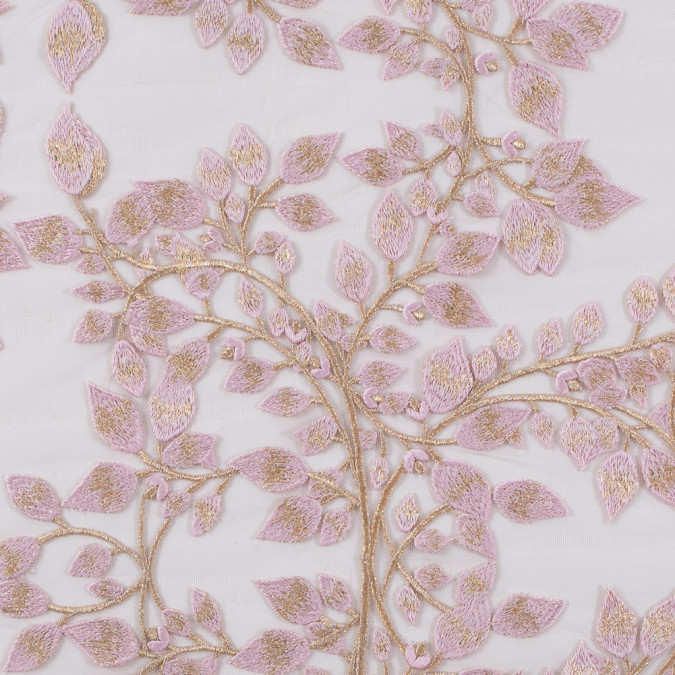 pink and metallic gold floral novelty embroidered mesh 116532 11